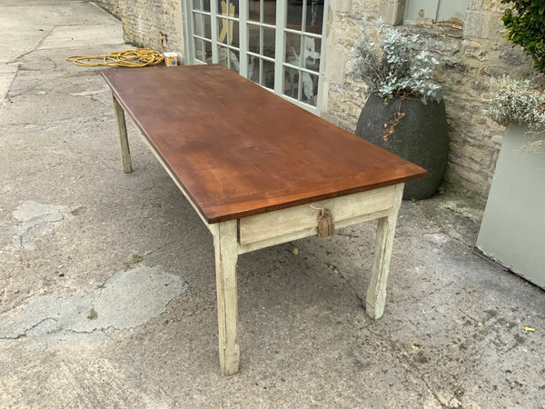 Antique Cherrywood Top French farmhouse table
