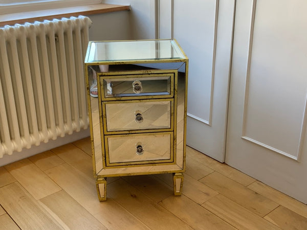Mirrored venetian style bedside chest