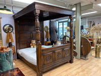 Antique oak four poster bed