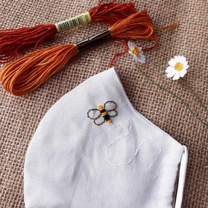 Honey Bee Hand Embroidery Linen Face Mask