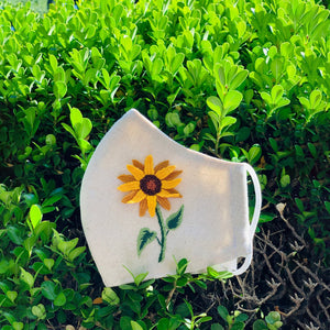 Handmade Sunflower Embroidery Linen FaceMask