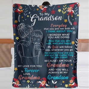 To my Grandson- My love for you is Forever - Quilted Blanket