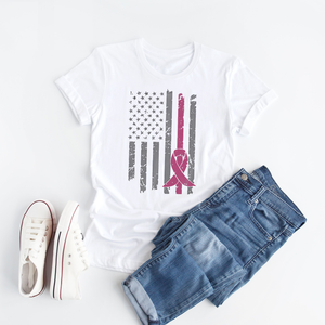 America With Pink Breast Cancer Awareness - T Shirt