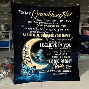 To my Granddaughter - I love you to the moon and back - Quilted Blanket