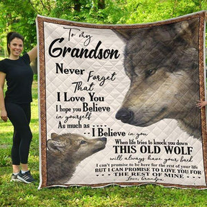 To my Grandson- This Old Wolf will always have your back - Quilted Blanket