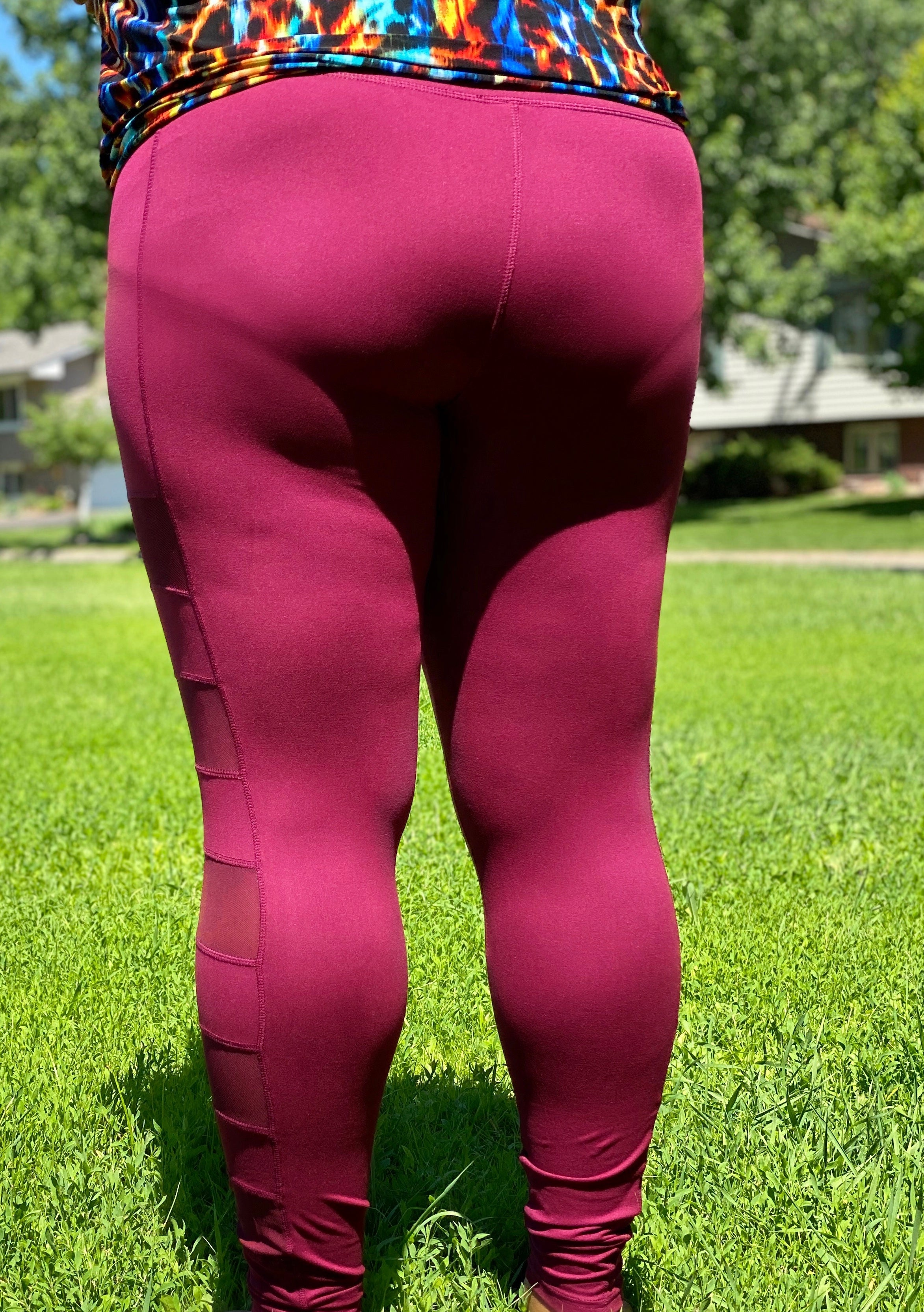 Mesh Panel Leggings- Curvy