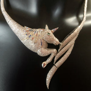 A PAVÉ DIAMANTÉ UNICORN NECKLACE