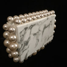 Load image into Gallery viewer, MARBLED CLUTCH WITH JUMBO PEARLS