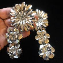 Load image into Gallery viewer, GIANT SILVER-TONE FLOWER EARRINGS
