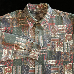 ORIGINAL 90s PERSIAN CARPET PRINT CORDUROY SHIRT