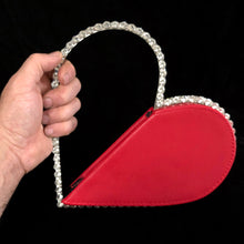 Load image into Gallery viewer, UNUSUAL SPLICED HEART SHAPED  BAG WITH RHINESTONES