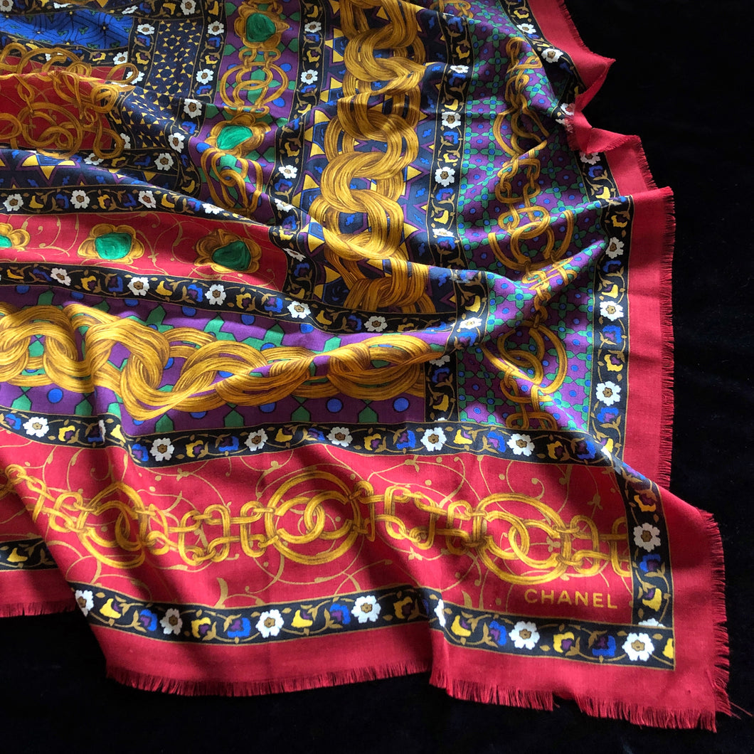 A VINTAGE 80s LARGE WOOL/SILK CHANEL SCARF