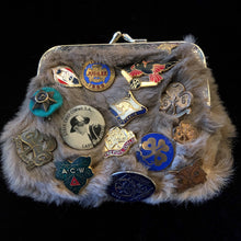 Load image into Gallery viewer, A KANGAROO SKIN PURSE WITH 28 VINTAGE GIRL GUIDE PINS.