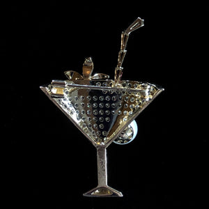 A CHAMPAGNE COCKTAIL BROOCH WITH PEARL
