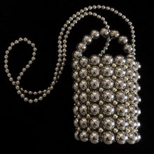 Load image into Gallery viewer, SILVER BEADED BUCKET BAG
