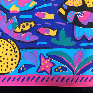 A REEF PRINT 80s SILK SCARF BY KEN DONE