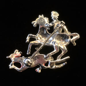PETITE MARCASITE KING GEORGE AND THE DRAGON VINTAGE BROOCH