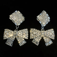 Load image into Gallery viewer, LARGE SIZE DIAMANTÉ BOW CLIP ON EARRINGS