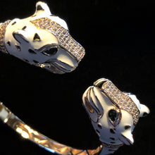Load image into Gallery viewer, A WHITE ENAMELLED CHEETAH BRACELET