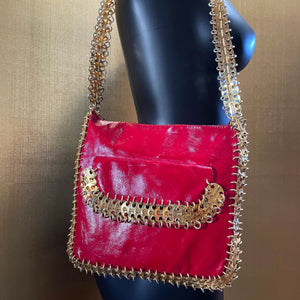 A RARE LATE 1960s CHAIN LINK AND LEATHER BAG BY PACO RABANNE