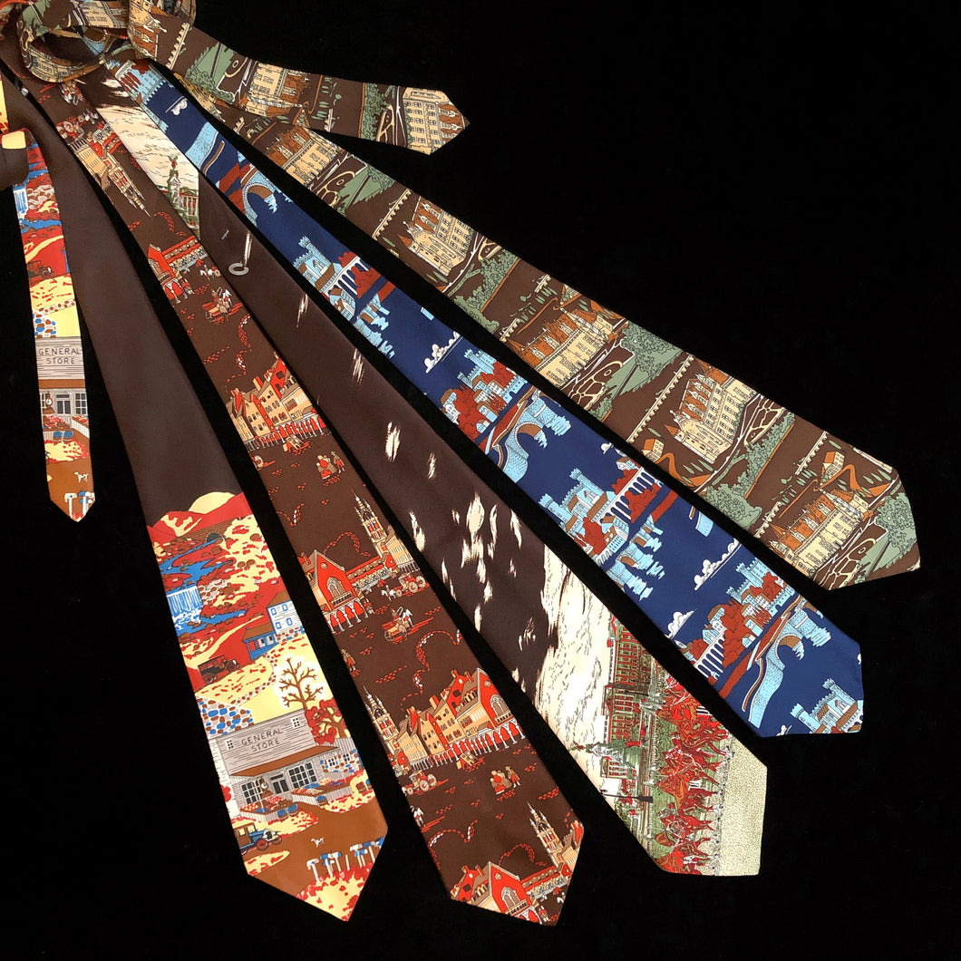 A TOWNSCAPES PRINT COLLECTION OF 70s PICTURE TIES