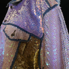 Load image into Gallery viewer, A LARGE SIZE TARMAFIA HAND SEQUINNED JACKET IN PALE COLOURS