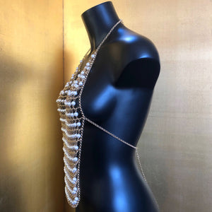A CHAIN-MESH PEARL BACKLESS HALTER TOP