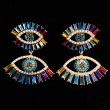 Load image into Gallery viewer, RAINBOW CRYSTAL AND PEARL EYE EARRINGS