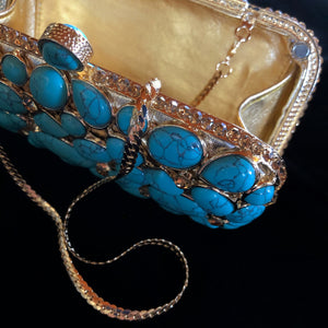 A GOLD AND TURQUOISE BEADED FANTASY CLUTCH