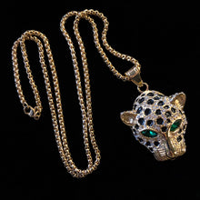 Load image into Gallery viewer, AN ENAMELLED AND DIAMANTÉ LEOPARD PENDANT