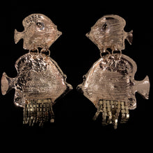 Load image into Gallery viewer, ENAMELLED AND DIAMANTÉ FISH EARRINGS