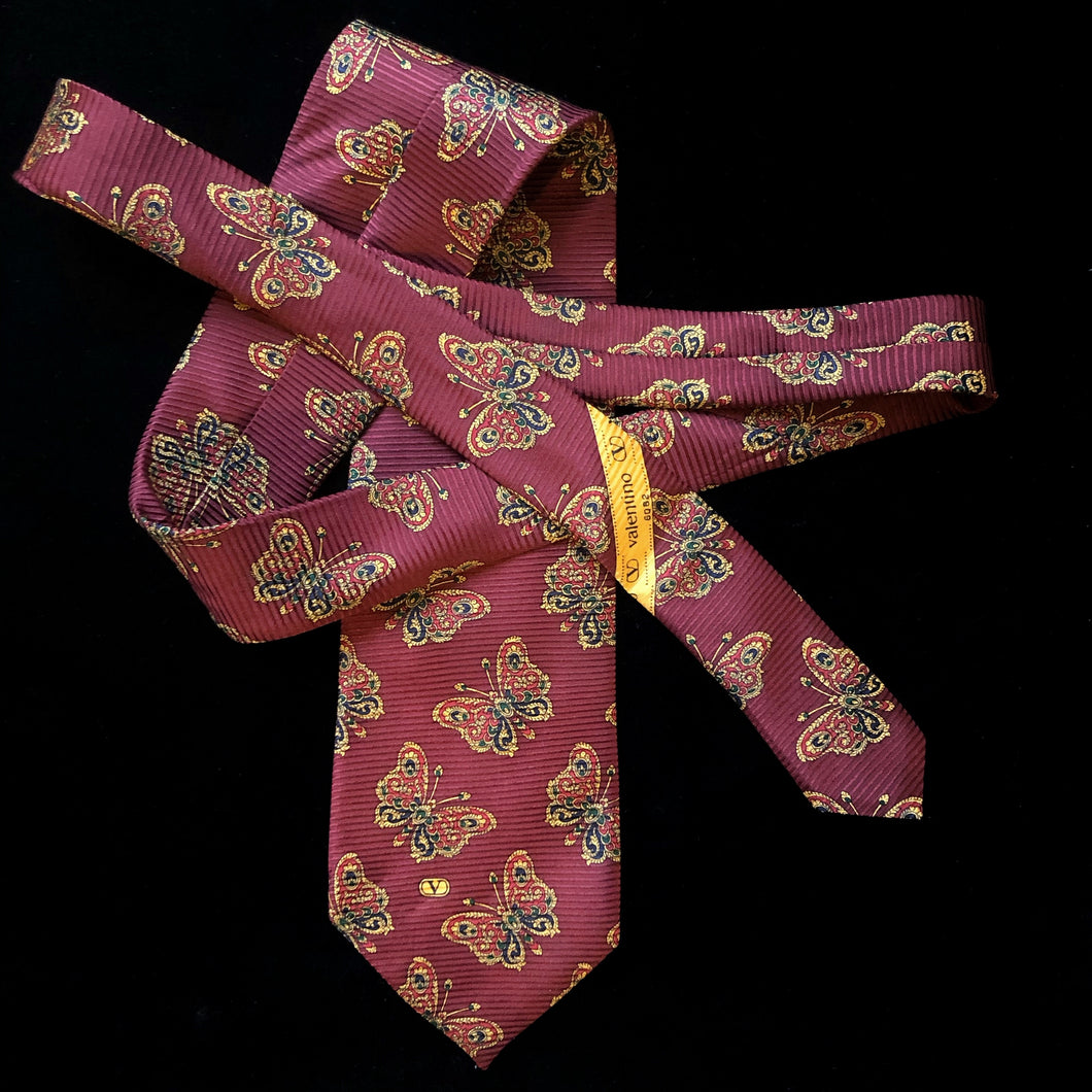 VINTAGE 1990s VALENTINO TIE WITH BUTTERFLY PRINT