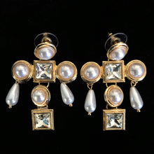 Load image into Gallery viewer, JEWEL CROSS EARRINGS WITH PEARL DANGLES