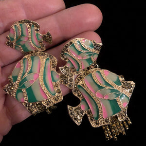 ENAMELLED AND DIAMANTÉ FISH EARRINGS