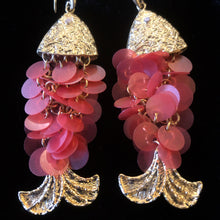 Load image into Gallery viewer, SEQUIN CHAIN-MAIL FISH EARRINGS