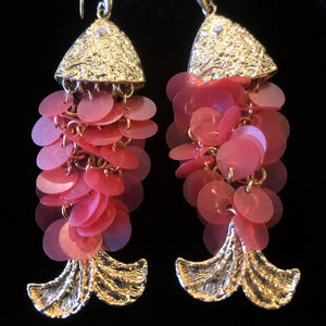 SEQUIN CHAIN-MAIL FISH EARRINGS