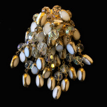Load image into Gallery viewer, A LARGE AUSTRIAN CRYSTAL AND BEADED TASSEL BROOCH