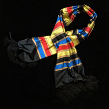 Load image into Gallery viewer, A QUALITY BANDED SILK TAFFETA FRINGED SCARF