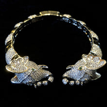 Load image into Gallery viewer, A BLACK ENAMELLED AND DIAMANTÉ ELEPHANT BRACELET