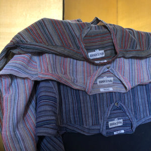 A PALE STRIPE INDIAN COTTON 90s GRANDPA SHIRT