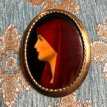 Load image into Gallery viewer, AN ANTIQUE HAND PAINTED ENAMEL BROOCH OF SAINT FABIOLA.