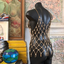 Load image into Gallery viewer, A CHAIN MESH LATTICE SINGLET WITH PEARLS