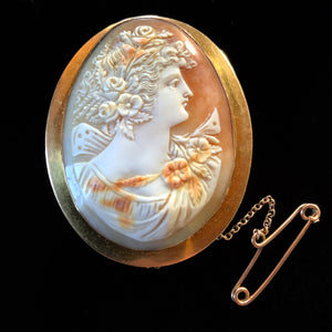 A QUALITY VICTORIAN CARVED CAMEO WITH A 15k GOLD SETTING
