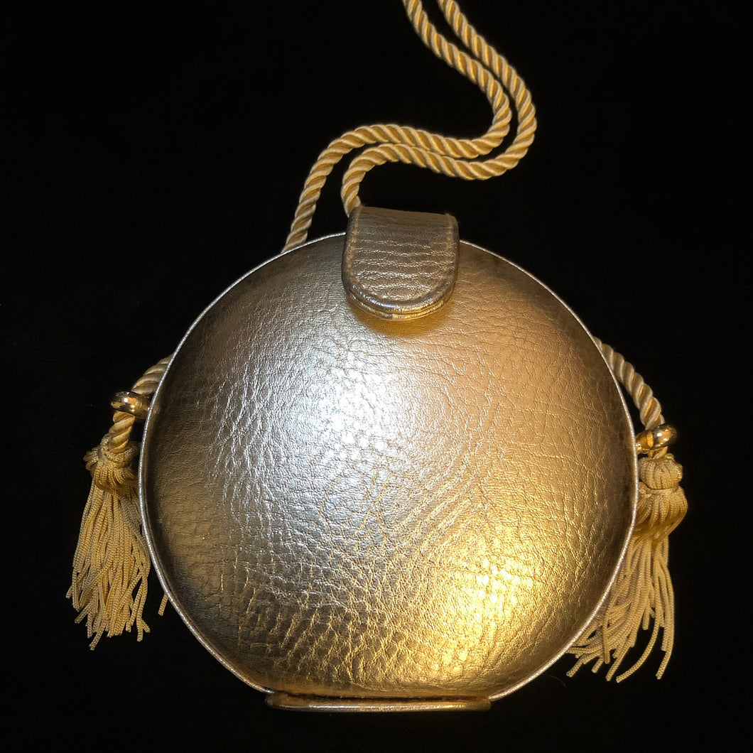 GOLD LEATHER PASTILLE EVENING BAG