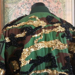 A TARMAFIA BEADED AND SEQUINNED CAMO JACKET