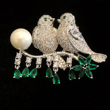 Load image into Gallery viewer, TWO BIRDS ON A BRANCH BROOCH WITH SINGLE PEARL