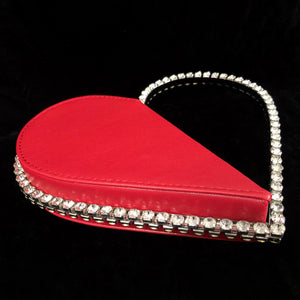 UNUSUAL SPLICED HEART SHAPED  BAG WITH RHINESTONES