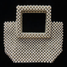 Load image into Gallery viewer, SILVER BEADED BAG WITH SQUARE HANDLE