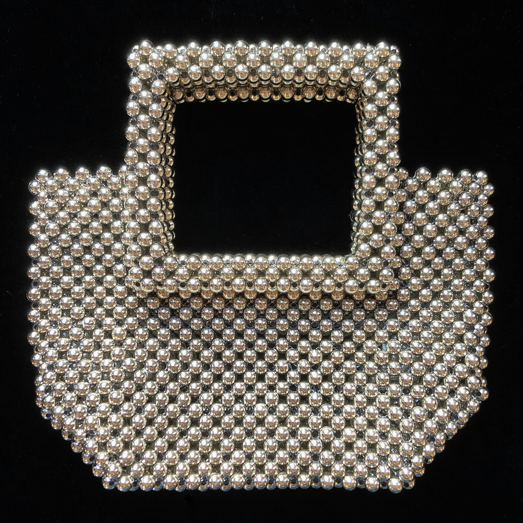 SILVER BEADED BAG WITH SQUARE HANDLE