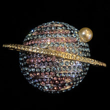 Load image into Gallery viewer, A DIAMANTÉ SATURN BROOCH